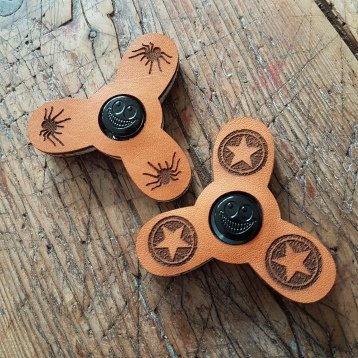Fidget Spinner Leather Engraved