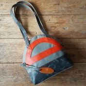 Leather bag orange grey and camo