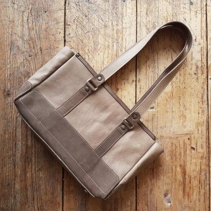 Leather bag sand and brown
