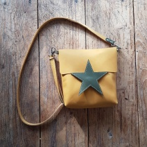 Leather bag yellow and green star