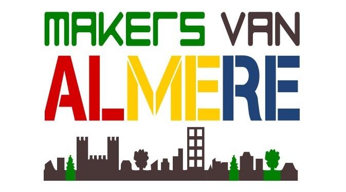 Makers van Almere Logo Tekst en skyline kleur groot driekleur bijgesneden